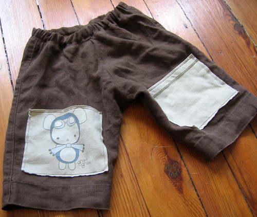 brown linen pants with mouse knee pads