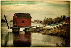 Stonehurst Cove, Blue Rocks, Nova Scotia (sminky_pinky100 (In and Out)) Tags: travel red brown canada tourism water vintage landscape fishing pretty novascotia village scenic textured shacks actions bluerocks picturepoems mywinners omot citrit bestofmywinners stonehurstcove