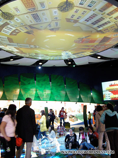 A giant video installation was spotted inside the Belarus pavilion