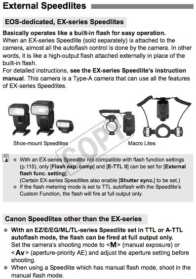 Camera settings and how to use Canon flash units with the 7D, as documented on page 129 of the Canon 7D Manual