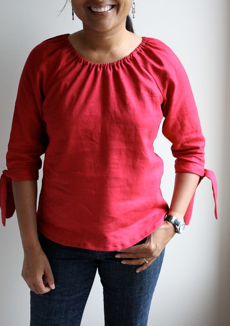 Red linen simplicity 3835