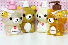 Rilakkuma & Korilakkuma Dispensers (applel0ve) Tags: 2004 bottle soap shampoo kawaii transparent dispensers 2009 conditioner rilakkuma sanx  600ml korilakkuma kiiroitori  550ml  kf35501 kf35601