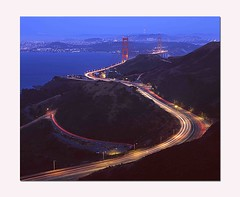 Light Streams to the City (RZ68) Tags: sanfrancisco bridge blue light sunset sky cars bulb mediumformat lights golden bay highway gate san francisco long exposure baker view streak time dusk marin scene grade trail 101 velvia goldengatebridge hour goldengate freeway headlands vista ft streaks provia waldo timed ggb e100 eening rz68