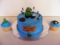 Frog Pond Birthday Cake & Cupcakes (cupcakeaholic) Tags: birthday cake cupcakes pond pad frog lilly frogs lillypad