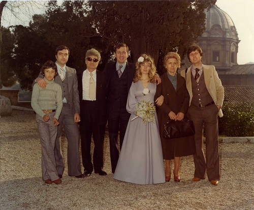 My parents on their wedding day, along with my moms family, in Rome. Notice my nonno never took off his shades.