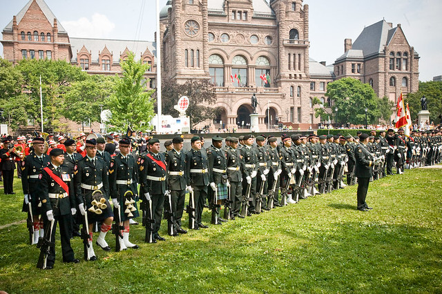 "The Queen inspected troops, did a ""walkabout"" and listened to some marching music at Queen's Park today."
