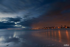 City Glow at Dusk (Dale Allman) Tags: ocean longexposure sunset cloud seascape seaweed reflection clouds seashells canon lights sand dusk australia wideangle adelaide southaustralia 1740mm sanddunes torrens henleybeach westbeach leefilters canon5dmkii 5dmkii daleallman torrensoutlet