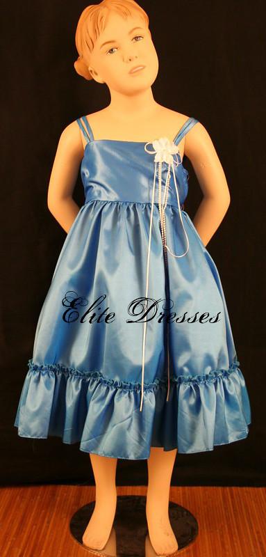 Girl's Aqua Blue Taffeta Sleeveless Dress with Ruffled Skirt