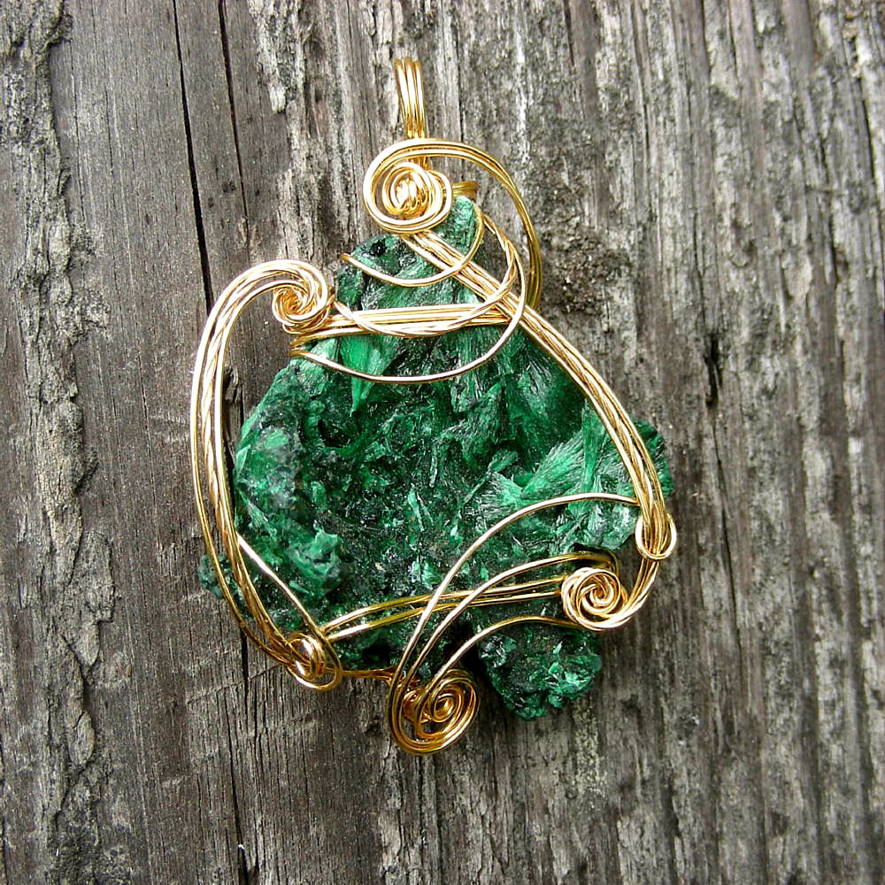 FERN GULLEY ~ Green Malachite Gemstone Gold Wire Wrapped Pendant Necklace.