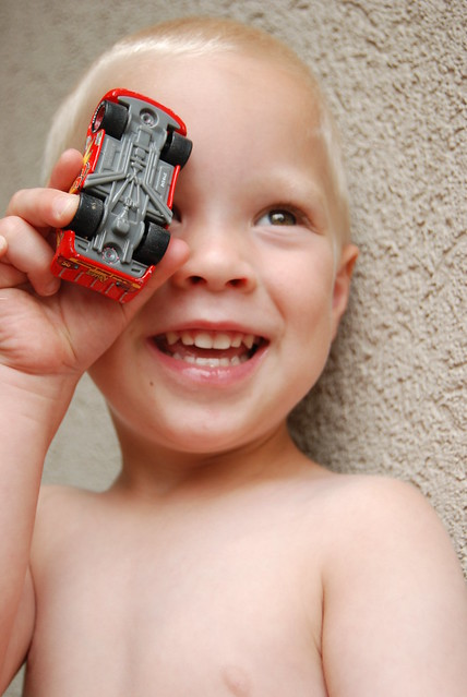 "favorite toy - his ""mater"" Lightning McQueen"