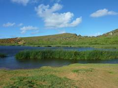 Easter Island Day 14 242 Rano Raraku (TravelShorts) Tags: chile travel lake southamerica island volcano statues heads moai easterisland quarry isolated rapanui isladepascua ranoraraku hotomatua