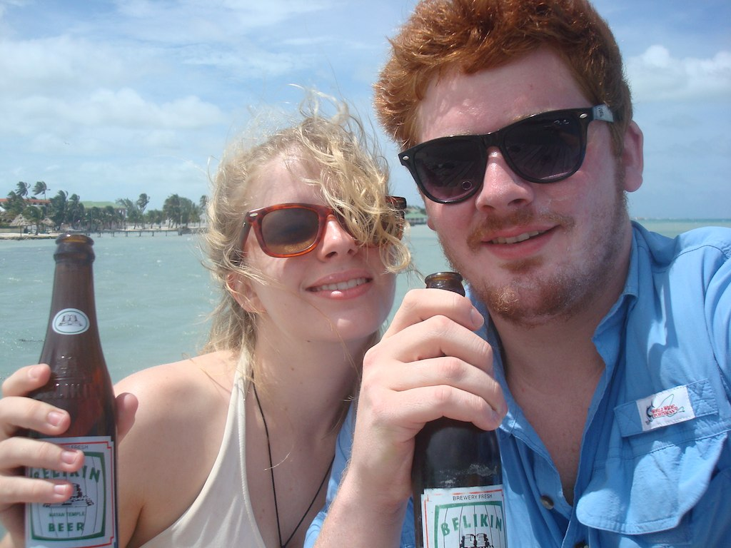Drinking Belikin Beer in San Pedro, Belize, Yum!