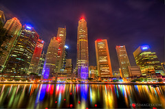 Colors of the night - Singapore Skyline.jpg (MDSimages.com) Tags: travel skyline reflections landscape singapore asia nightshot hdr highdynamicrange nightskyline photomatix michaelsteighner mdsimages