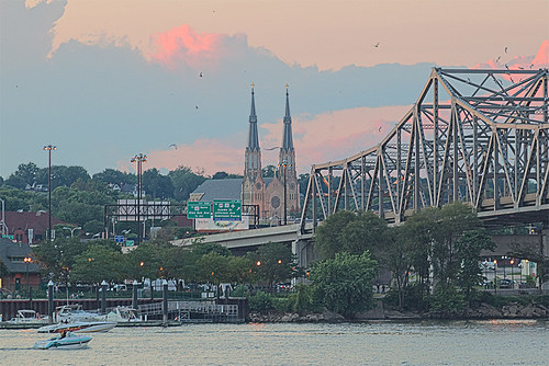 Cathedral of Saint Mary of the Immaculate Conception, in Peoria, Illinois, USA - view from across the Illinois River