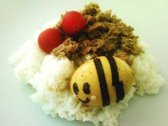 Cute Bee Egg 2 (crayonmonkey) Tags: food cute rice egg bee kawaii bento bentou nori charaben kyraben crayonmonkey