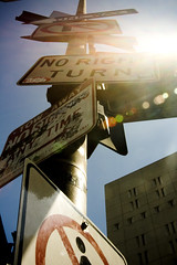 Meh. (JSFauxtaugraphy) Tags: california signs lens los angeles many flare too confusion