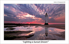 Lighting a Sunset Dream (awhyu) Tags: new sunset england sky lighthouse west water liverpool reflections coast brighton fort north dreams perch merseyside wirrall