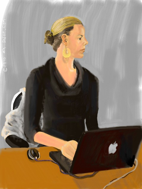 iPad Portrait of Rebecca Woodcock of @CakeHealth team at Women 2.0 Labs Tonight