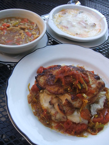 Chicken, soup, and queso fundido