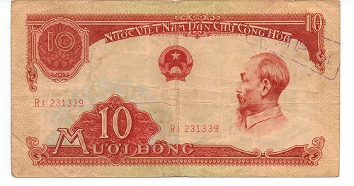 1958 Vietnam 10 Dong banknote with overstamp