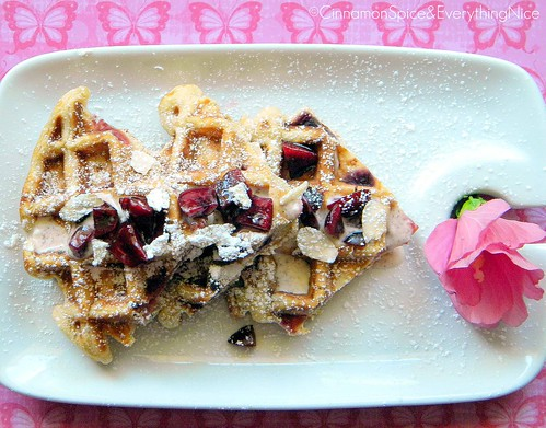 Cherry Waffles with Maple Yogurt Sauce