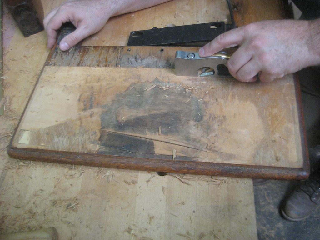 Singer treadle machine- repairing the cabinet