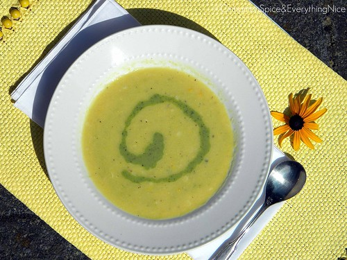White Corn Soup with Poblano Cream Sauce