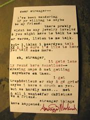 dear stranger (mindbum) Tags: typewriter words poetry poem letters stranger poet type letter writer written typer mackeral amerigo epistolary epistles