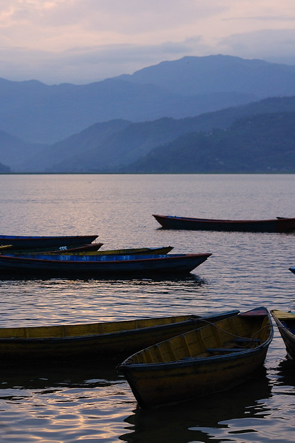 Boats on the Pokhara lake