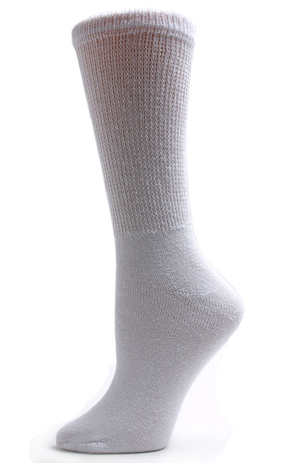 Sole Pleasers Women's White Diabetic Crew Socks - 3pk
