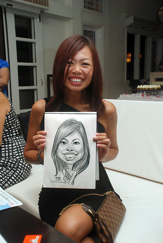 caricature live sketching for David & Christine wedding dinner - 20