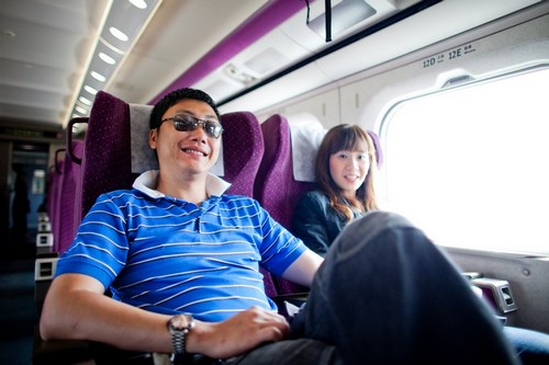 in the train cabin