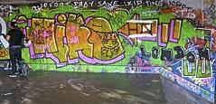 London Graffiti - South Bank (farg4graf) Tags: color colour london colors graveyard dead graffiti design artwork stencil shoes paint artist colours south pray bank tags save aerosol skateboards tine skill bridge nozzles london south can bank cemetery millennium graveyard graffiti ikid 10foot spray broken boards skate skateboard