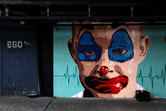 Evil Clown (jamie nyc) Tags: nyc newyorkcity streetart graffiti murals vandalism milkcrate rattrap vandalismo strassenkunst robcorddry 860 evilclowns outlawart pennywisetheclown photobyjimkiernan nightmareclowns themostdiabolicalevilclowntrapever bootlegdecoystarbuckscoffee