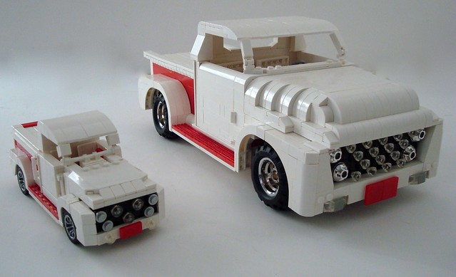 red white ford truck lego pickup competition f100 chrome custom build 53 martins challenge lino 1953 lugnuts sizematters ironbuilder mountainpearl guyhimber