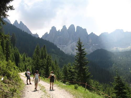 Der Weg auf die Almwiesen und die Geislerspitzen im Hintergrund