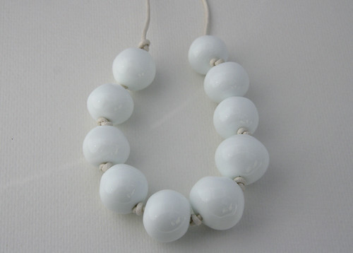 My hollow white beads on a necklace