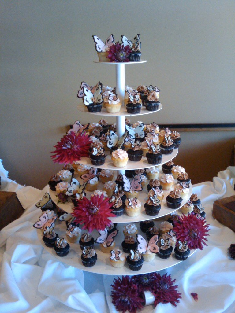 chocolate butterfly wedding cupcake tower
