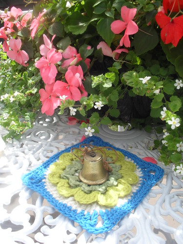Okay friends...A puzzle! Squares from? Flowers in the ..........? and a Bell? Who has sent me Squares today?