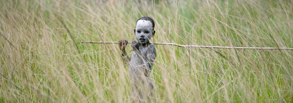 Surma boy at Donga stick fighting - Ethiopia
