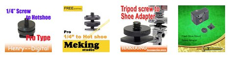Tripod Screw to Flash Hot Shoe Adapters