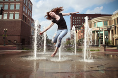 Kaarin (Dabe Alan | www.dabealan.com) Tags: blue ohio sky water fountain beauty alan jump downtown dish mark bees alien ii 5d 40 60 canton sixty forty dabe strobist kaarins