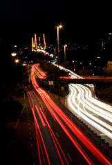 Peak Hour (Eloise Claire) Tags: road bridge light cars car night dark driving australia dailycommute brisbane adventure explore qld queensland lighttrails aus storybridge slowshutterspeed peakhour longexposuretime kangaroopoint longexp cartrails