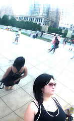 dee and the bean (wacky doodler) Tags: chicago milleniumpark cloudgate thebean