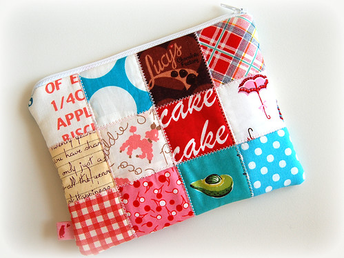 Patchwork zipper pouch