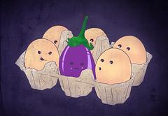 eggplant (kooky love) Tags: eggplant egg carton foodwithface