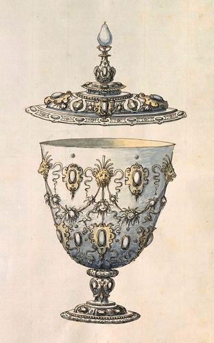 007-Copa con tapa-Entwürfe für Prunkgefäße in Silber mit Gold-BSB Cod.icon.  199 -1560–1565- Erasmus Hornick