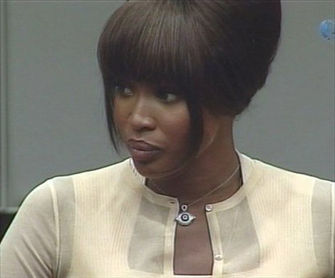 British model Naomi Campbell testifying before the war crimes tribunal in the Netherlands in regard to her alleged acceptance of diamonds from former Liberian President Charles Taylor who is currently on trial