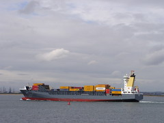 Charlotta sunshine (Nekoglyph) Tags: industry water ship bright estuary container colourful teesside tees charlotta southgare