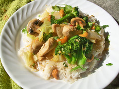 Homemade Cashew Chicken (mooshee85) Tags: food chicken mushroom dinner recipe lunch sauce broccoli homemade thai meal cabbage onion cilantro cashew